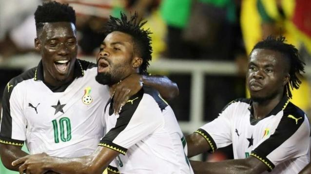 Ghanaian players celebrate their progress to the WAFU Cup of Nations finals.