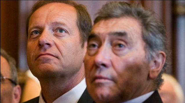 'Tour de France' General Director Christian Prudhomme (L) and Belgian cycling legend Eddy Merckx (R) attend a press conference for the Tour de France 2019, in Brussels, Belgium,