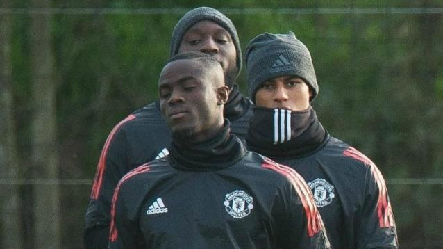 Eric Bailly training with Manchester United teammates