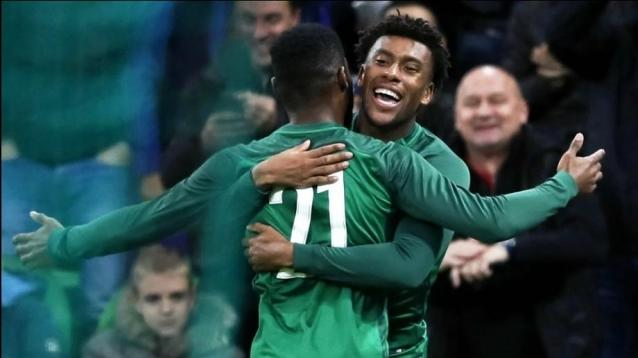 Alex Iwobi (R) of Nigeria celebrates with his teammate Brian Idowu (L) after scoring the 2-2 equalizer during the International Friendly soccer match between Argentina and Nigeria in Krasnodar, Russia, 14 November 2017. EPA/YURI KOCHETKOV